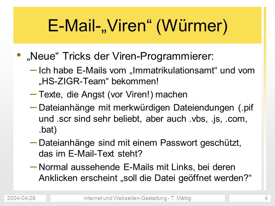 """E-Mail-""""Viren (Würmer)"""