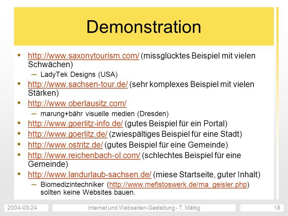 Internet und Webseiten-Gestaltung - T. Mättig