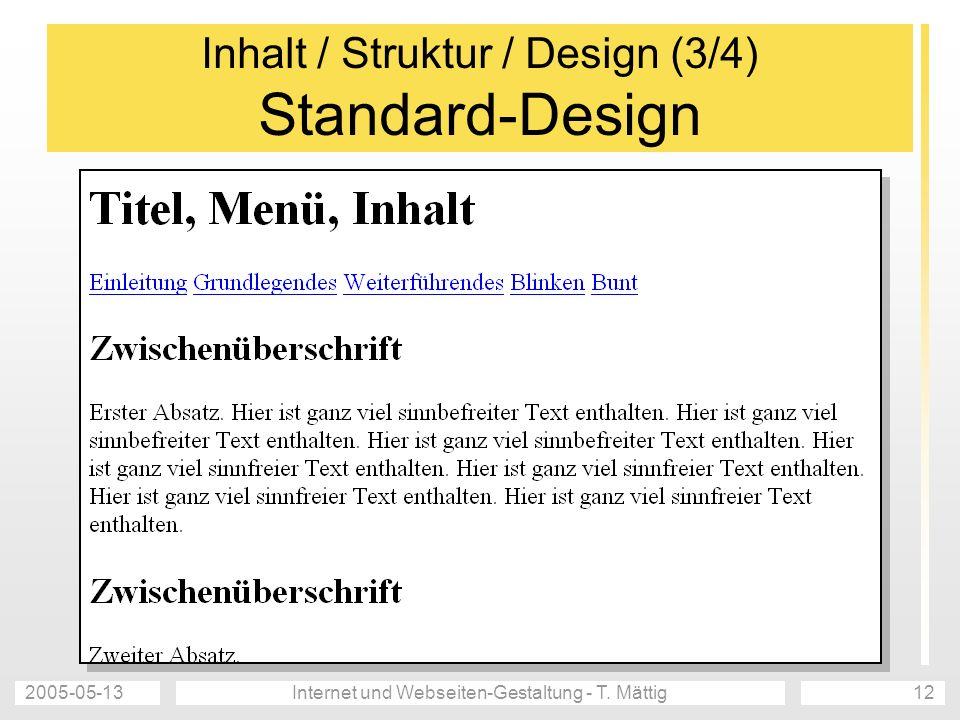 Inhalt / Struktur / Design (3/4) Standard-Design