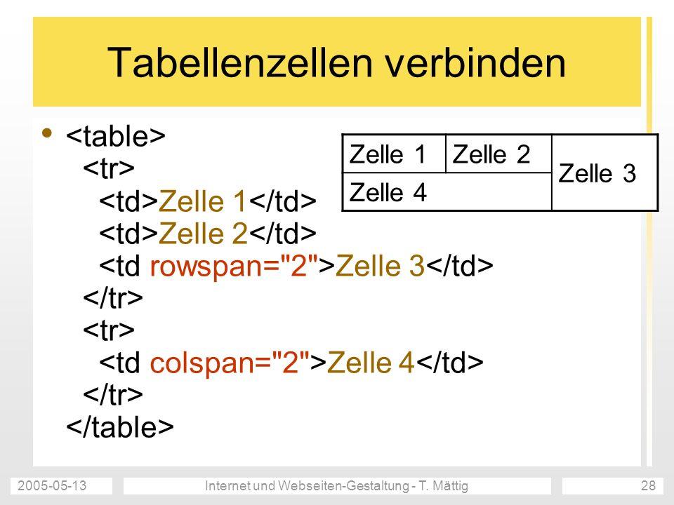 Tabellenzellen verbinden