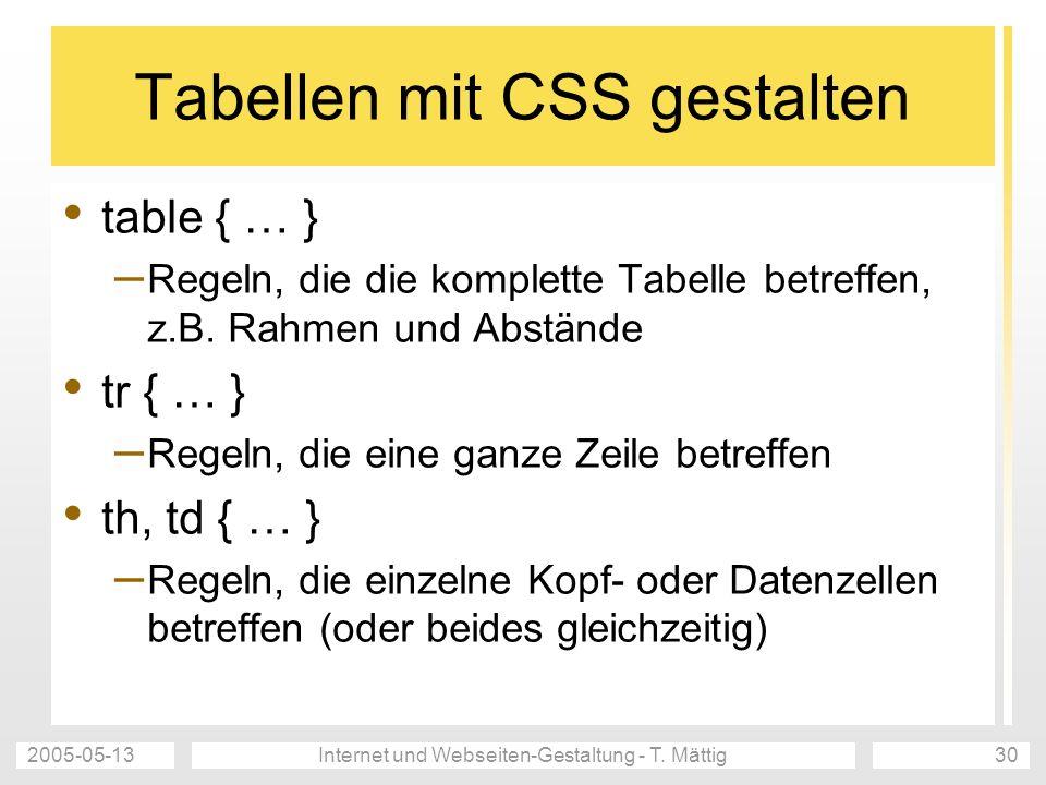 Tabellen mit CSS gestalten