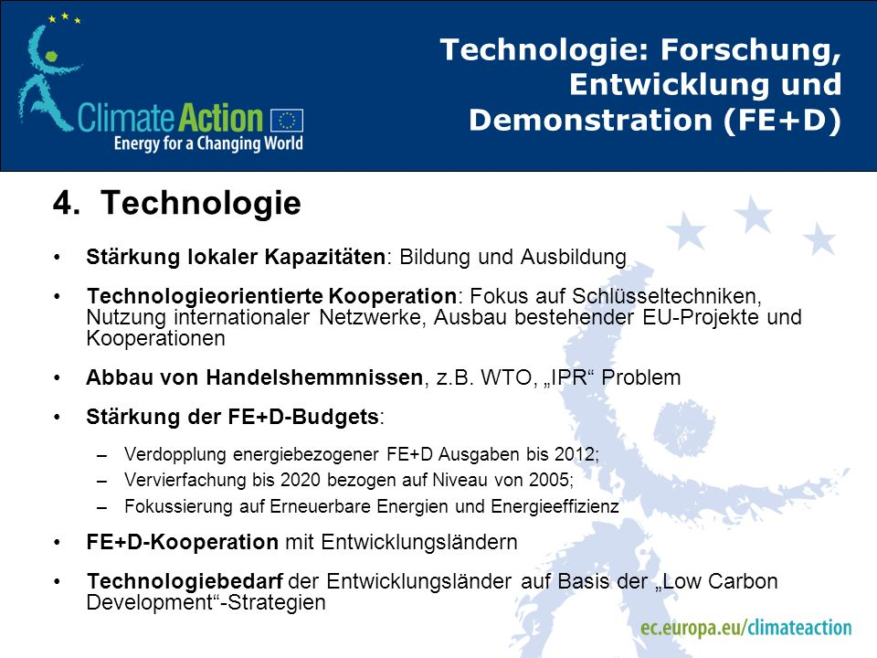 Technologie: Forschung, Entwicklung und Demonstration (FE+D)