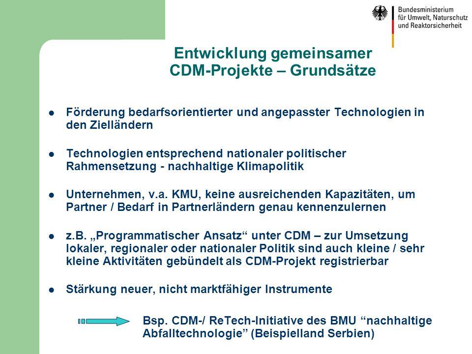 Entwicklung gemeinsamer CDM-Projekte – Grundsätze
