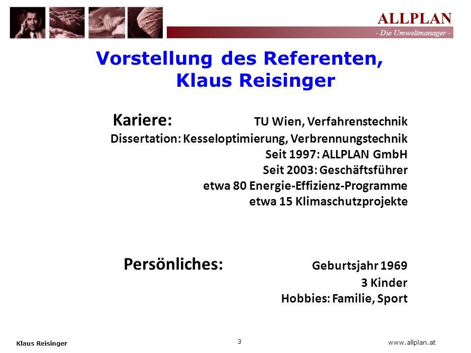 Vorstellung des Referenten, Klaus Reisinger