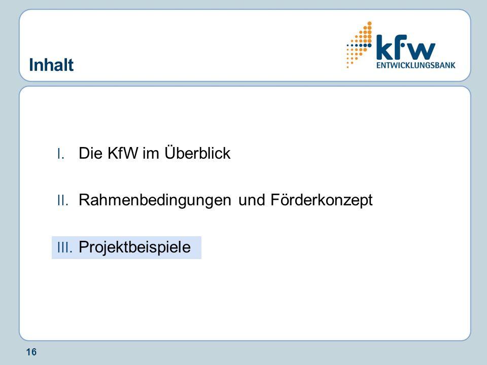 Inhalt Die KfW im Überblick Rahmenbedingungen und Förderkonzept