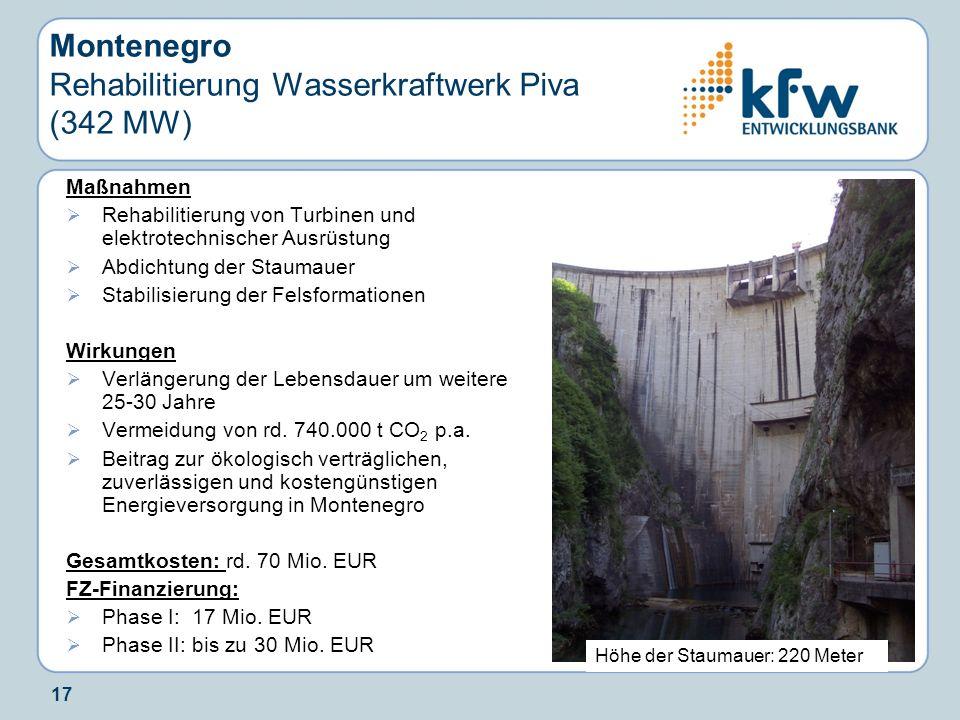 Montenegro Rehabilitierung Wasserkraftwerk Piva (342 MW)