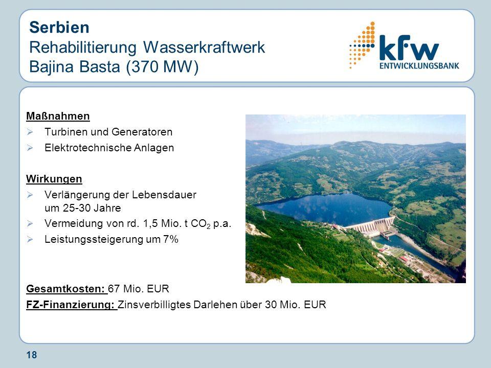Serbien Rehabilitierung Wasserkraftwerk Bajina Basta (370 MW)