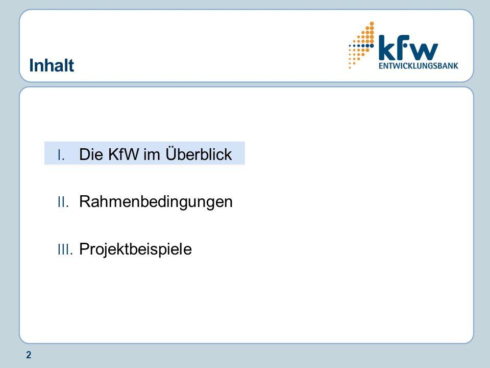 Inhalt Die KfW im Überblick Rahmenbedingungen Projektbeispiele