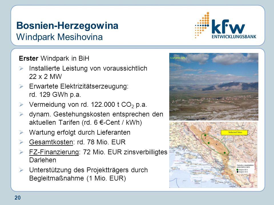 Bosnien-Herzegowina Windpark Mesihovina