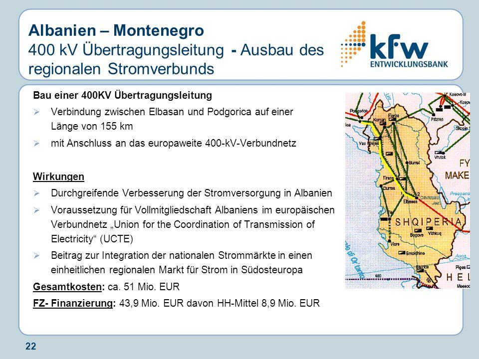 Albanien – Montenegro 400 kV Übertragungsleitung - Ausbau des regionalen Stromverbunds