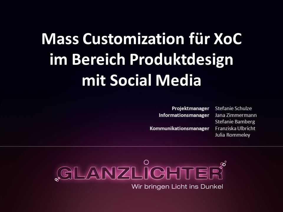 Mass Customization für XoC im Bereich Produktdesign