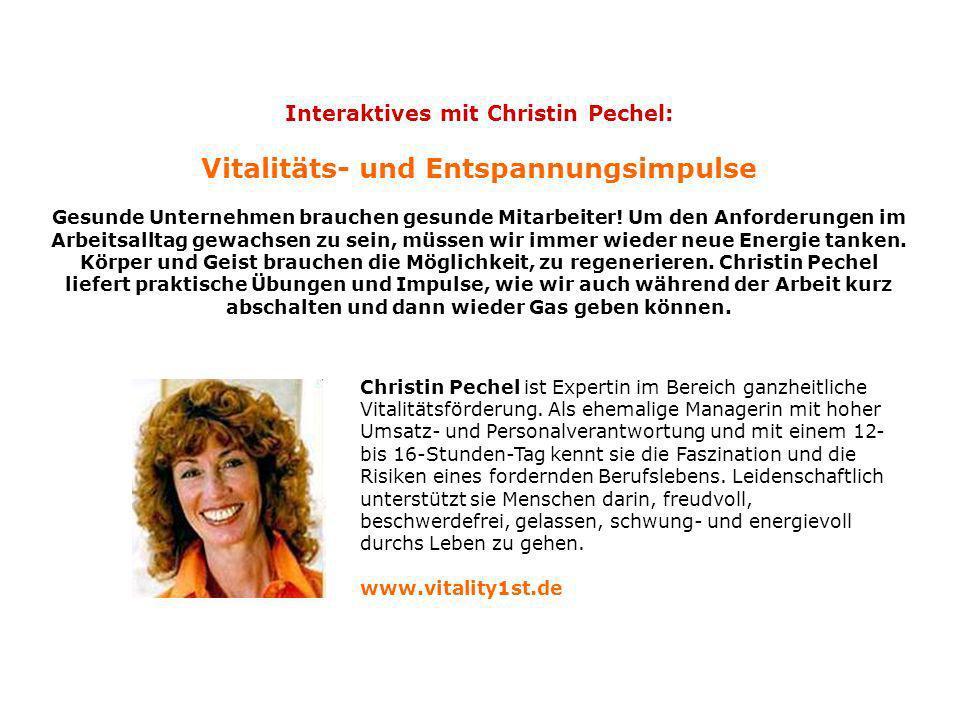 Interaktives mit Christin Pechel: Vitalitäts- und Entspannungsimpulse