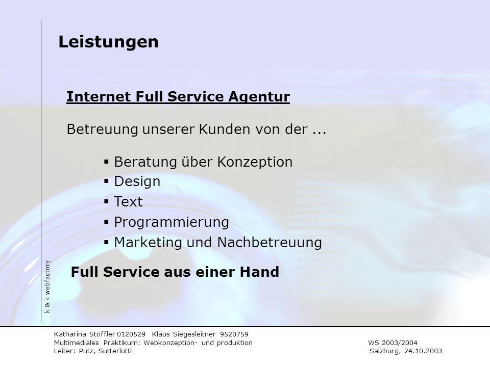 Leistungen Internet Full Service Agentur