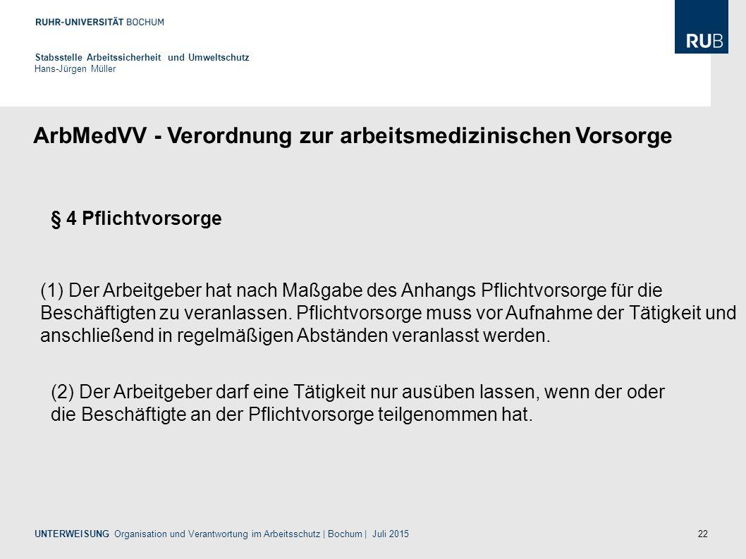 ArbMedVV - Verordnung zur arbeitsmedizinischen Vorsorge