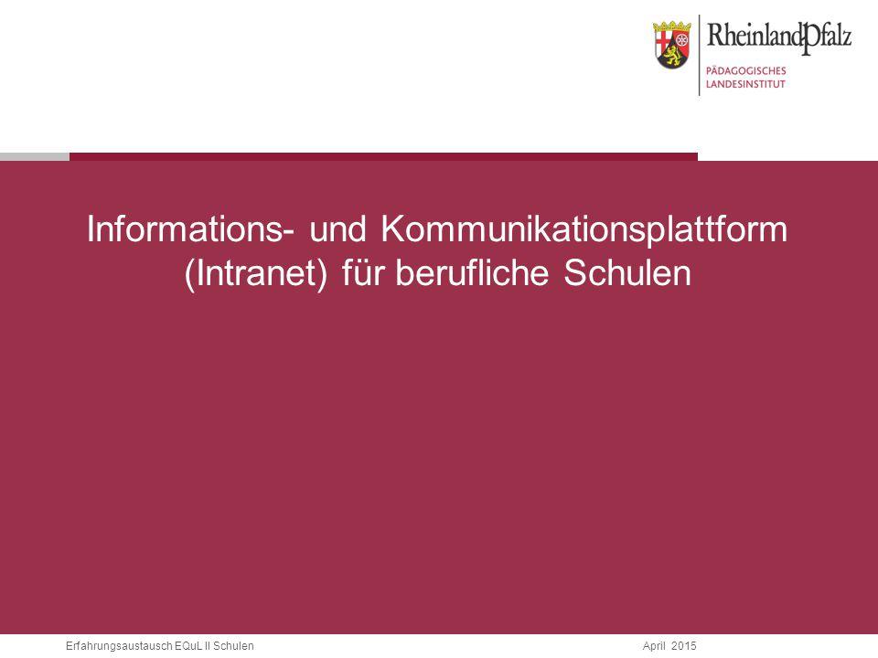 Informations- und Kommunikationsplattform (Intranet) für berufliche Schulen