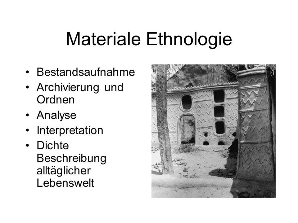 Materiale Ethnologie Bestandsaufnahme Archivierung und Ordnen Analyse