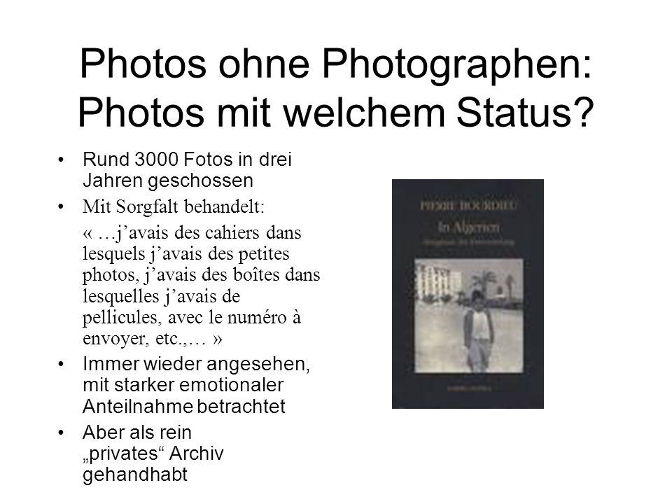 Photos ohne Photographen: Photos mit welchem Status