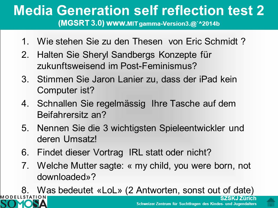 Media Generation self reflection test 2 (MGSRT 3. 0) www