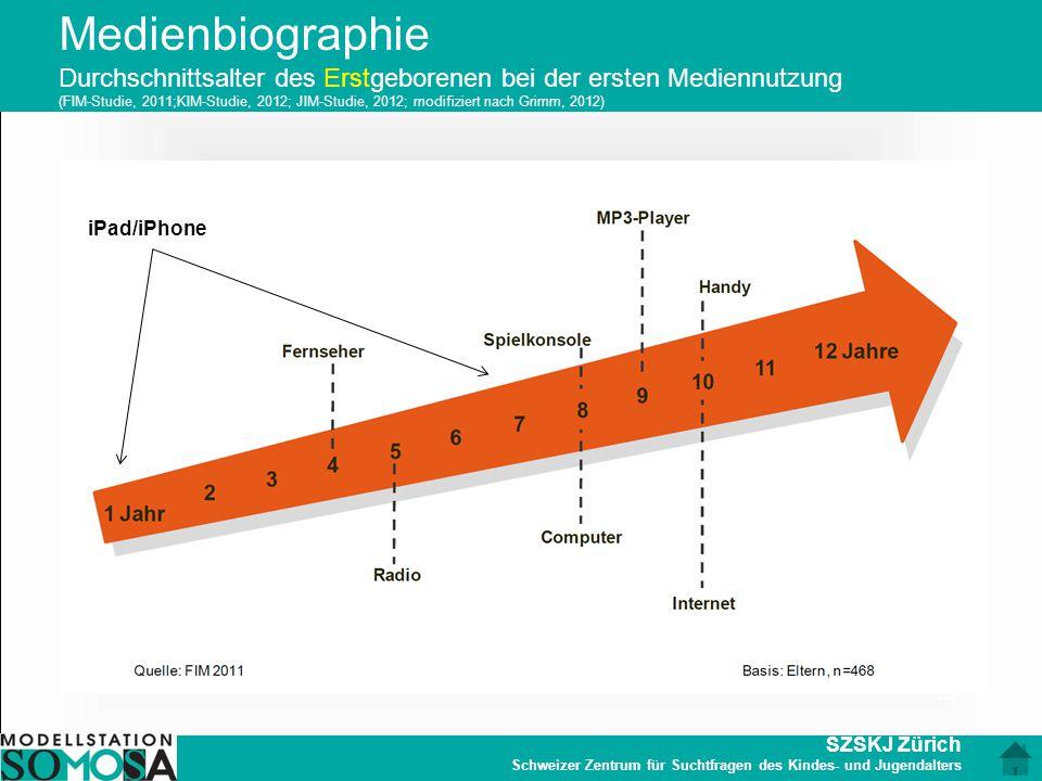 Medienbiographie Durchschnittsalter des Erstgeborenen bei der ersten Mediennutzung