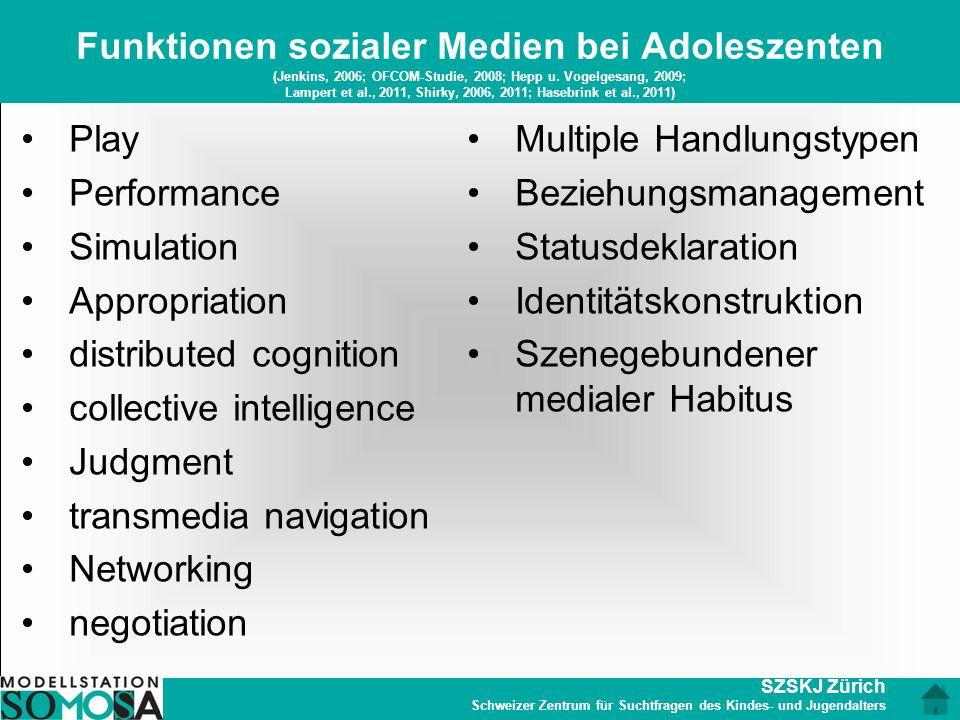 Funktionen sozialer Medien bei Adoleszenten (Jenkins, 2006; OFCOM-Studie, 2008; Hepp u. Vogelgesang, 2009; Lampert et al., 2011, Shirky, 2006, 2011; Hasebrink et al., 2011)