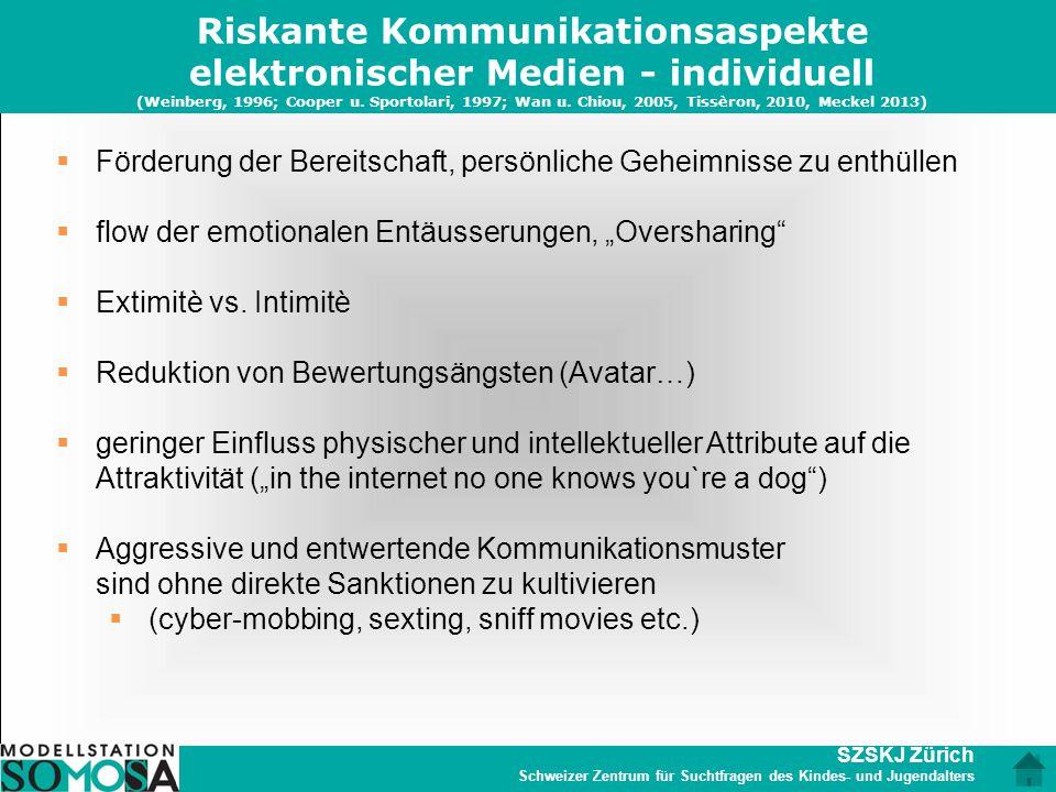 Riskante Kommunikationsaspekte elektronischer Medien - individuell (Weinberg, 1996; Cooper u. Sportolari, 1997; Wan u. Chiou, 2005, Tissèron, 2010, Meckel 2013)