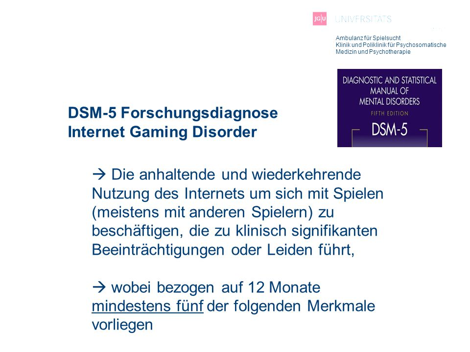 DSM-5 Forschungsdiagnose Internet Gaming Disorder