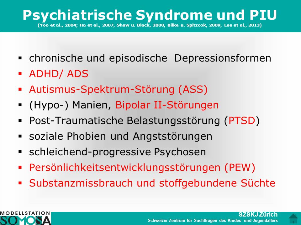 Psychiatrische Syndrome und PIU (Yoo et al. , 2004; Ha et al
