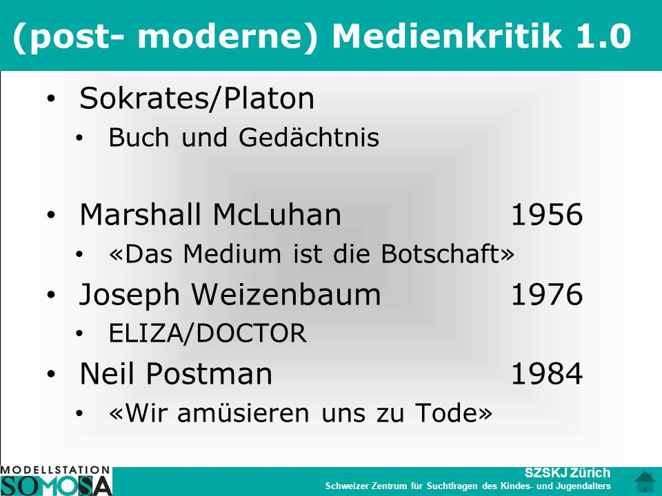 (post- moderne) Medienkritik 1.0
