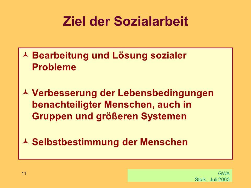 Ziel der Sozialarbeit Bearbeitung und Lösung sozialer Probleme