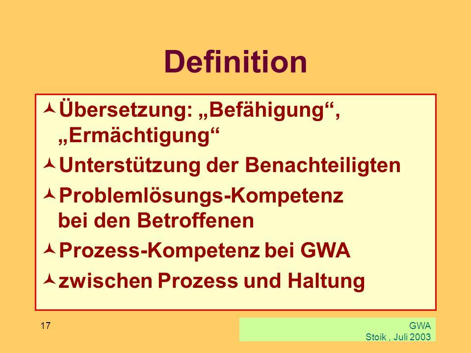 """Definition Übersetzung: """"Befähigung , """"Ermächtigung"""