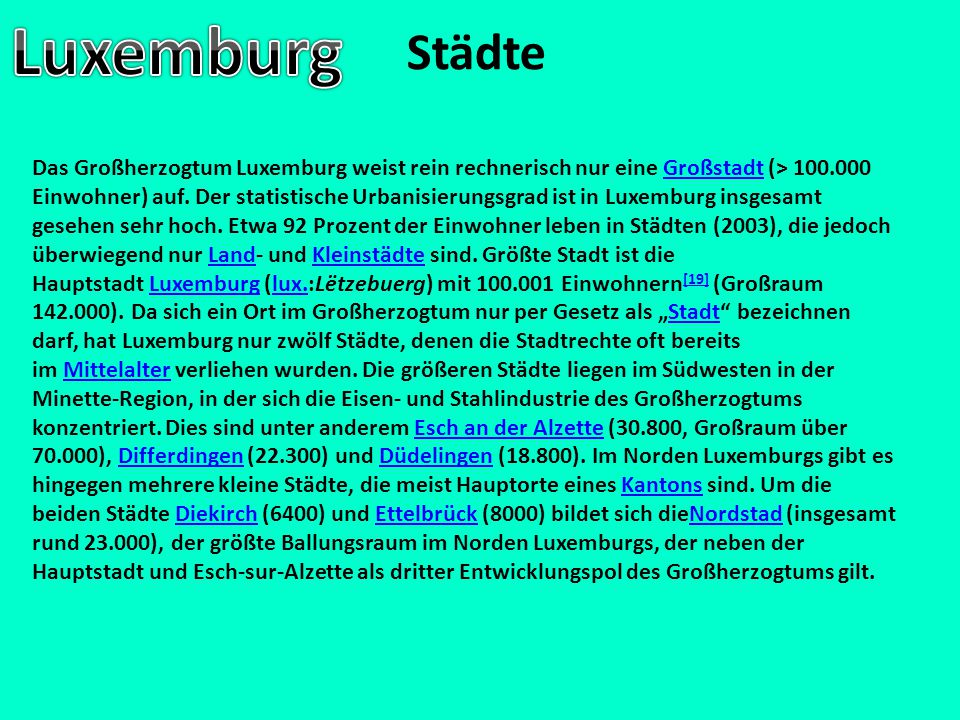 Luxemburg Städte.