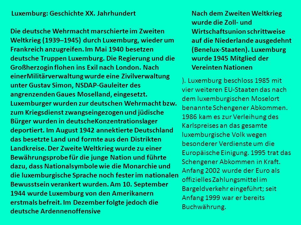 Luxemburg: Geschichte XX. Jahrhundert