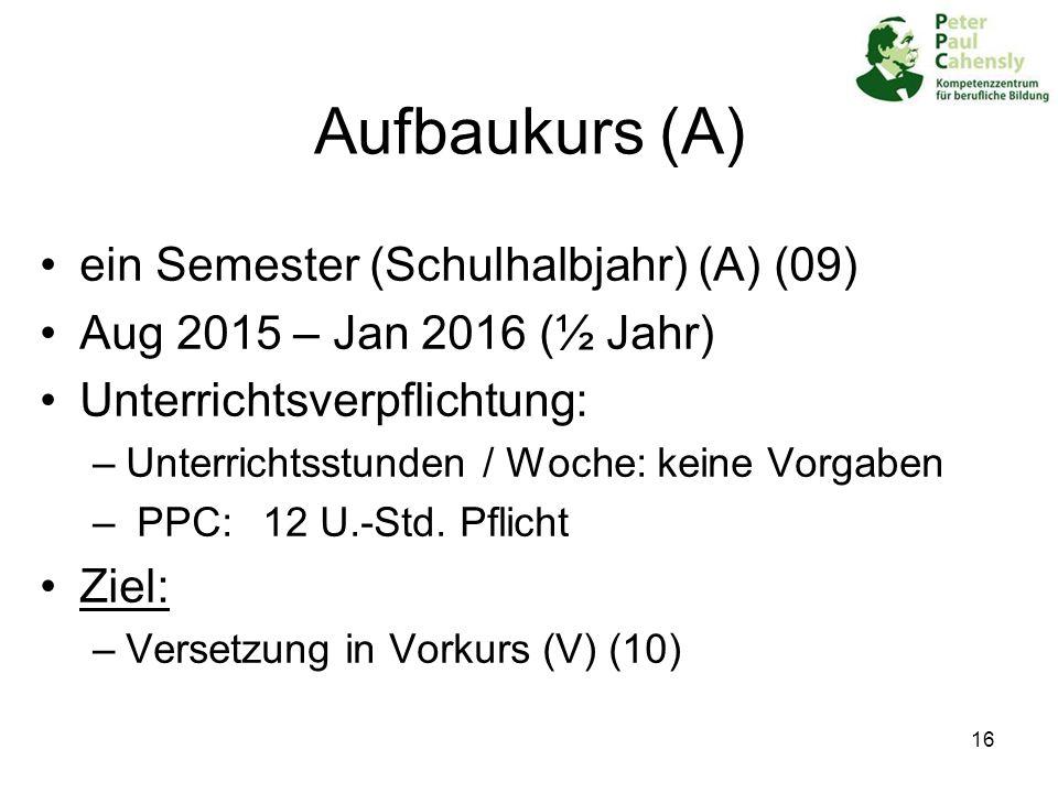 Aufbaukurs (A) ein Semester (Schulhalbjahr) (A) (09)