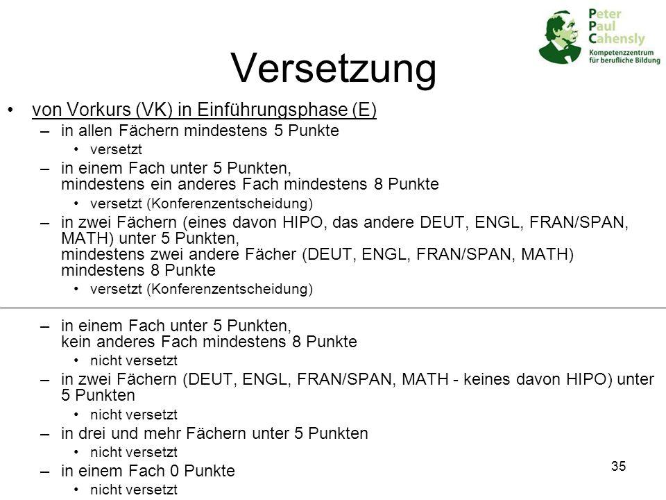 Versetzung von Vorkurs (VK) in Einführungsphase (E)