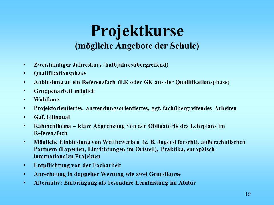 Projektkurse (mögliche Angebote der Schule)