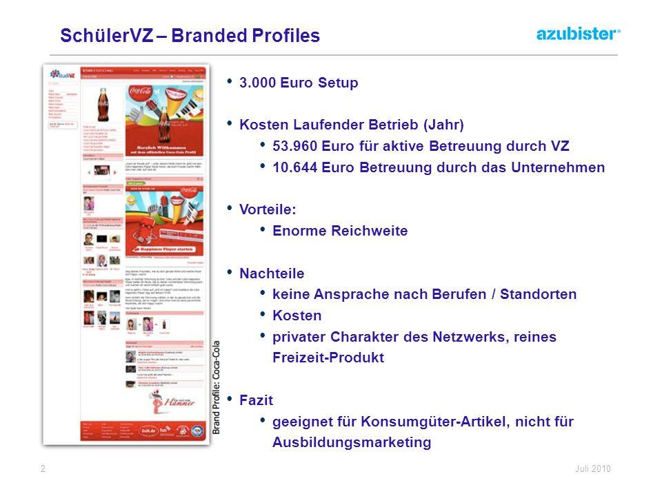 SchülerVZ – Branded Profiles