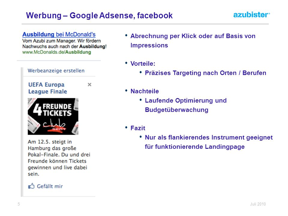 Werbung – Google Adsense, facebook