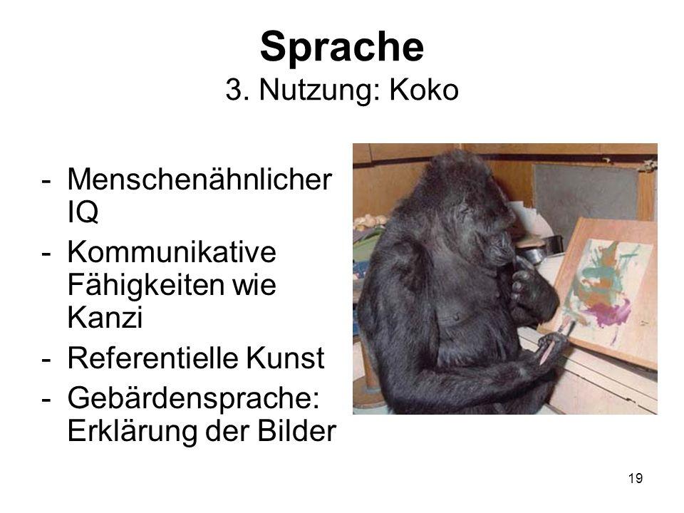Sprache 3. Nutzung: Koko Menschenähnlicher IQ