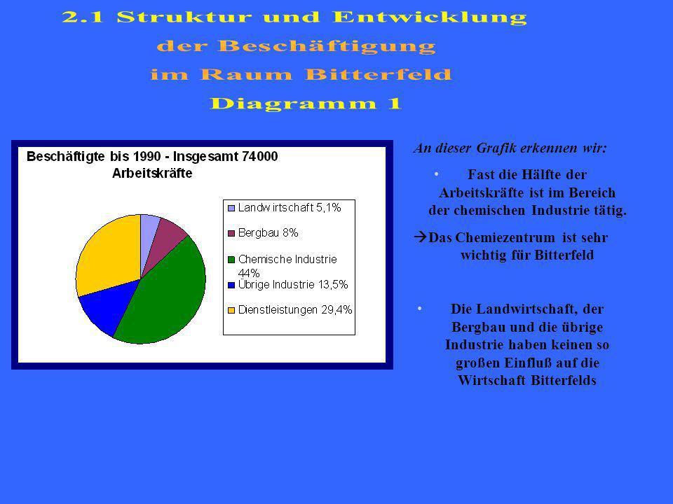 2.1 Struktur und Entwicklung der Beschäftigung im Raum Bitterfeld
