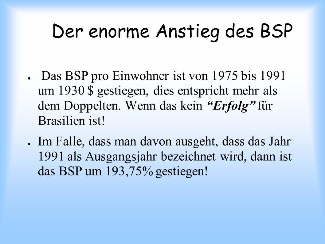 Der enorme Anstieg des BSP