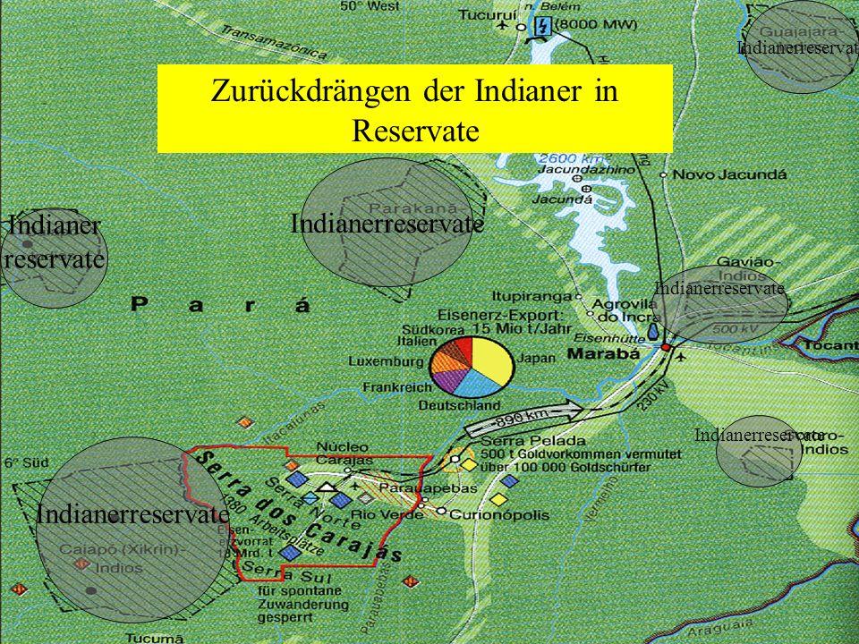 Zurückdrängen der Indianer in Reservate