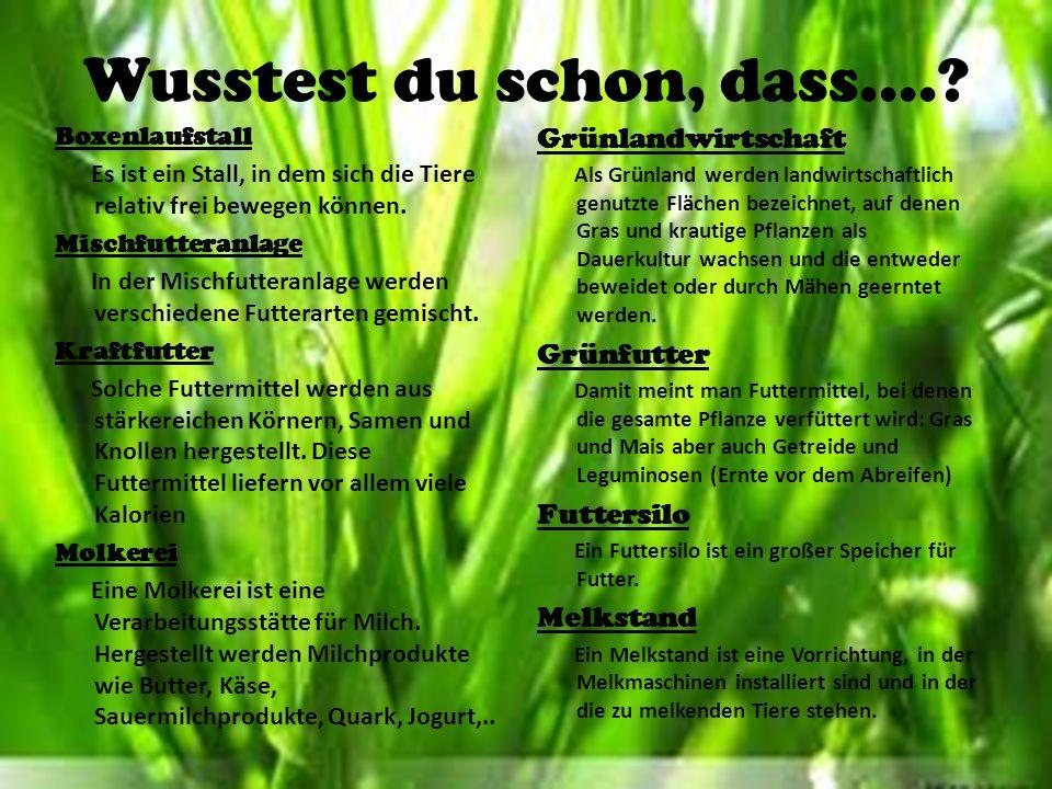 Wusstest du schon, dass.... Grünlandwirtschaft Grünfutter Futtersilo