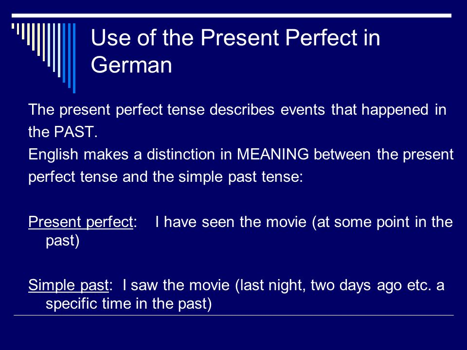 Use of the Present Perfect in German