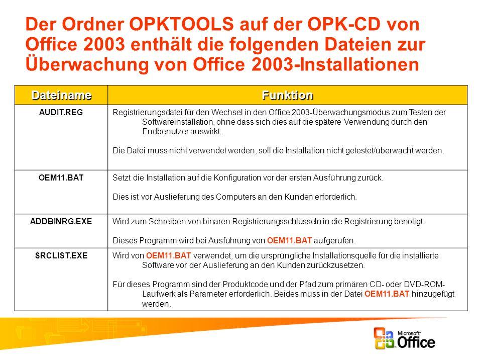 Der Ordner OPKTOOLS auf der OPK-CD von Office 2003 enthält die folgenden Dateien zur Überwachung von Office 2003-Installationen