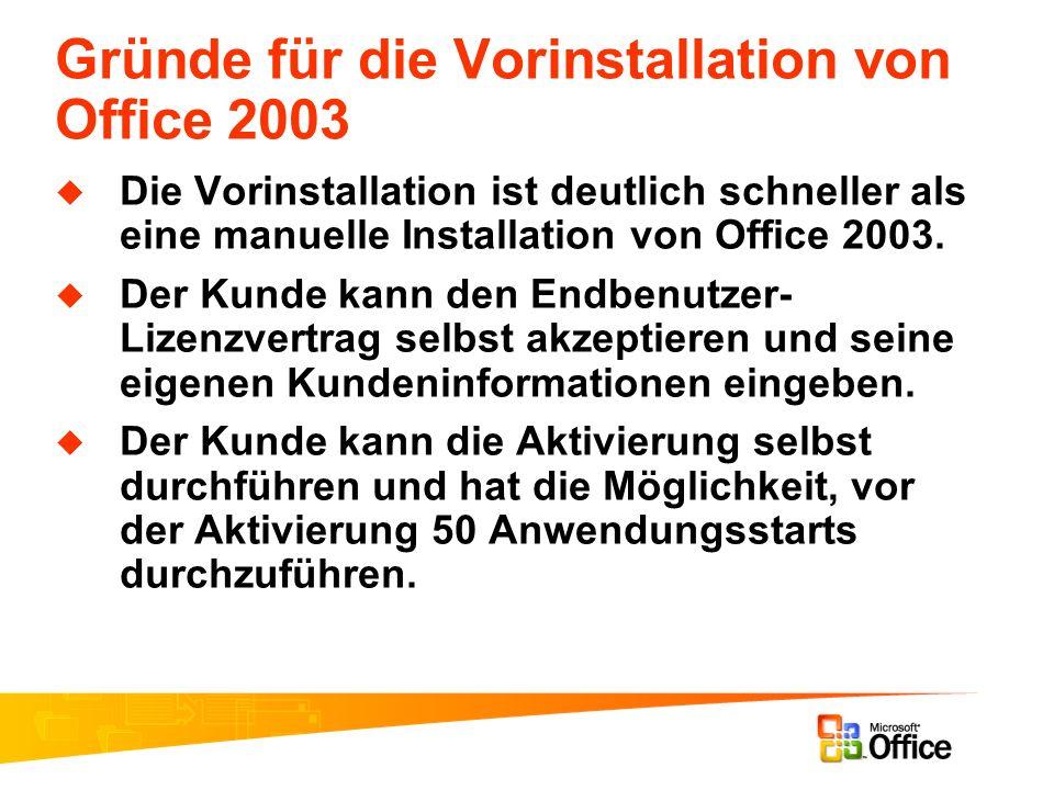 Gründe für die Vorinstallation von Office 2003