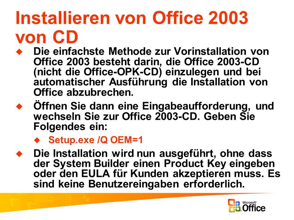 Installieren von Office 2003 von CD