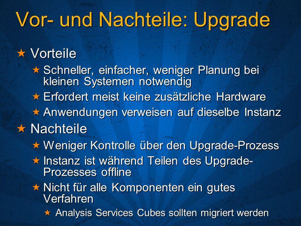 Vor- und Nachteile: Upgrade