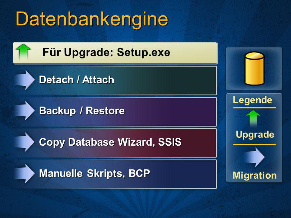 Datenbankengine Für Upgrade: Setup.exe Detach / Attach