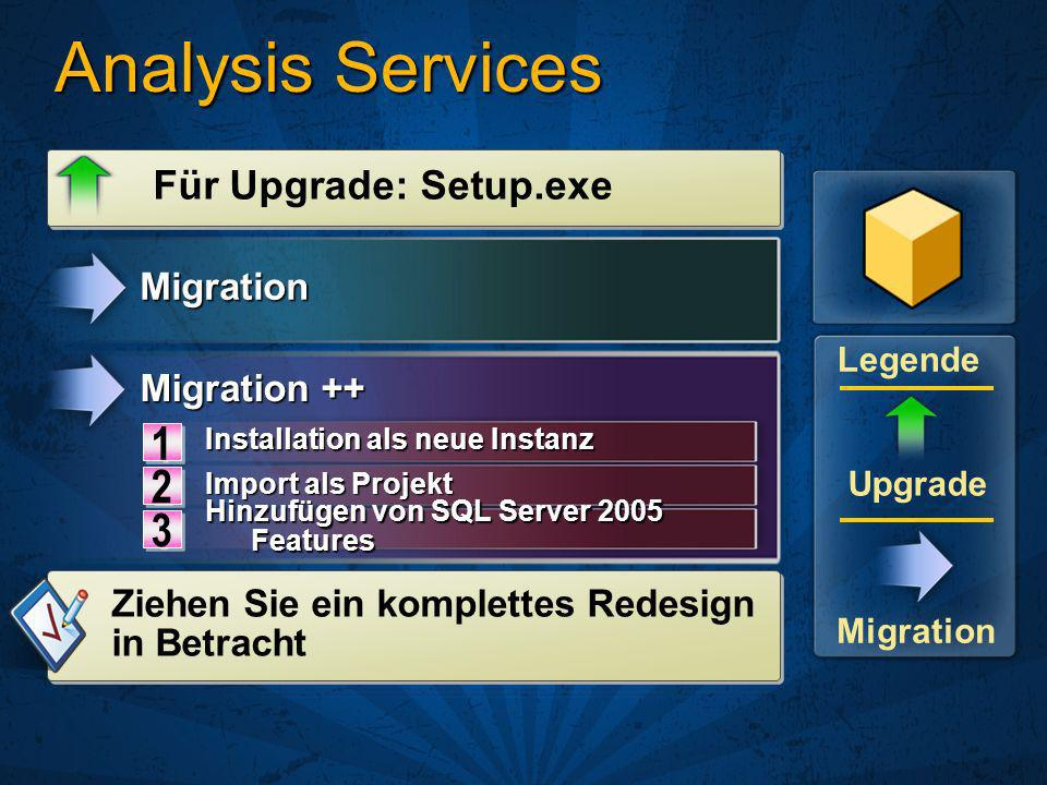Analysis Services 1 2 3 Für Upgrade: Setup.exe Migration Migration ++