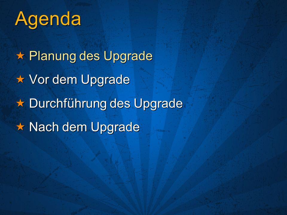 Agenda Planung des Upgrade Vor dem Upgrade Durchführung des Upgrade